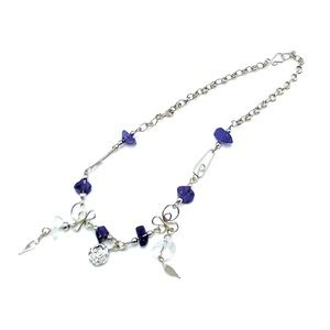Handmade amethyst and silver rose charm anklet